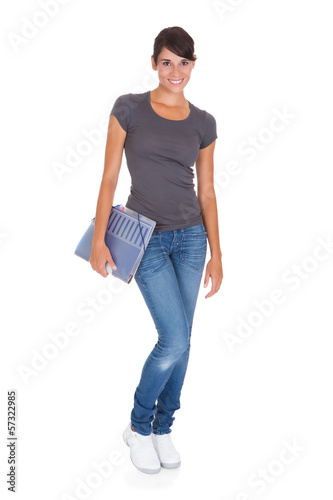 Beautiful Woman With Folder