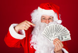 Happy santa holding dollars