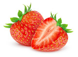 Fototapety Isolated strawberries. Two cut strawberry fruits isolated on white background