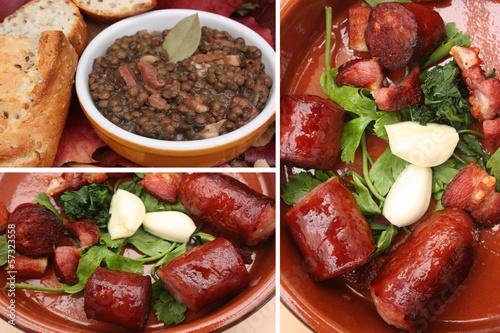 Lentilles vertes cuisinées - Saucisse lardons