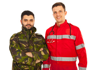 Paramedic and soldier man