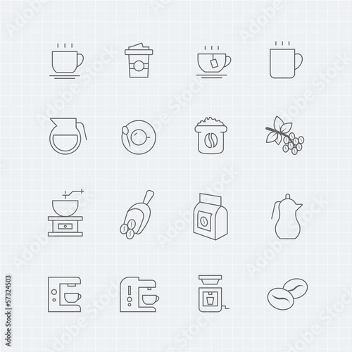 Coffee vector thin line symbol icon