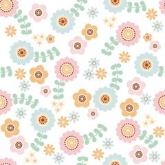 北欧風花柄パターン(淡色)