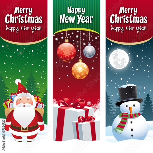 Merry christmas, happy new year, santa claus, gift, snowman