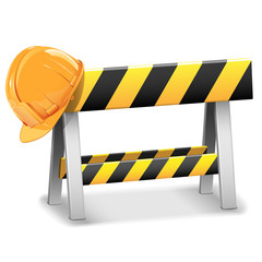 Vector Under Construction Barrier with Helmet
