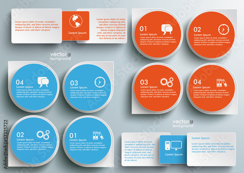 Infographic Drops Batched Rectangles Blue Orange