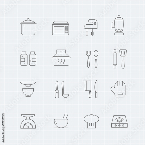kitchen vector thin line symbol icon