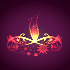 Beautiful Artistic diwali card colorful background illustration