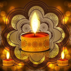 Diwali Lamp on Decorative bright colorful fantastic background