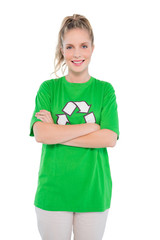 Happy blonde activist wearing recycling tshirt posing