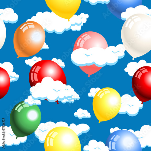 clouds and balloons seamless