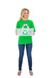 Smiling pretty environmental activist holding recycling box