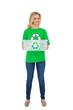 Smiling pretty environmental activist holding recycling box