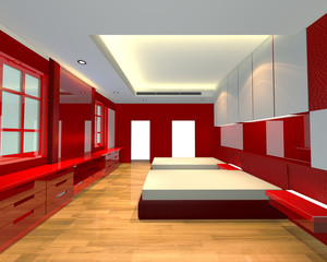 ineterior design bedroom red theme