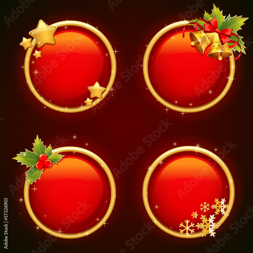 Round Christmas sale stickers with traditional winter elements