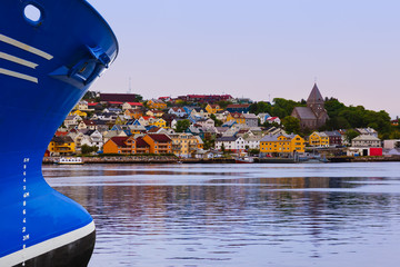 Ship and cityscape of Kristiansund Norway