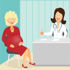 Pregnant visits doctor