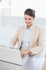 Smiling smart brown haired businesswoman using a laptop