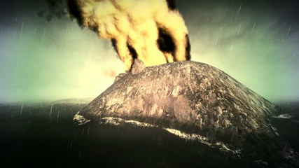 Volcanic eruption on island