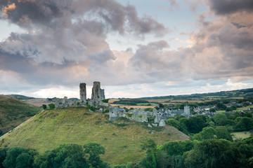 Ruins of Corfe Castle near Swanage, Dorset ,England