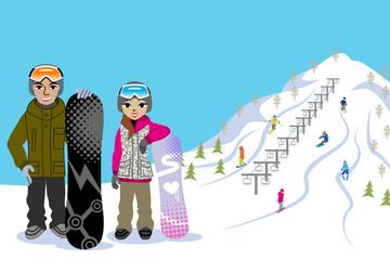 Snowboarding couple, in ski slope
