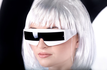 futuristic young woman wearing glasses