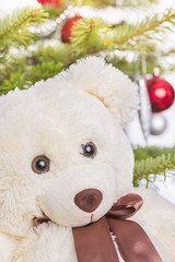 White teddy bear in front of christmas tree