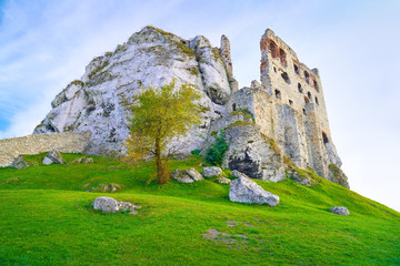 The Ruins of Old Medieval Castle on Rocks. Surrealistic landscap