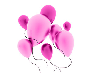 Pink balloons concept isolated on white