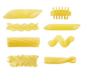Eight different types of pasta
