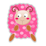 Pink cute sheep isolated on white background