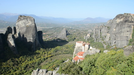 View from above on Rousannou - St. Barbara monastery, Meteora