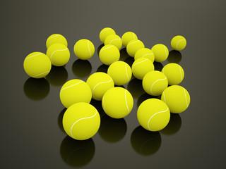 Tennis balls rendered on dark