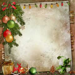 Christmas decoration on a vintage background