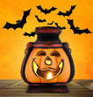 Pumpkin lantern with candle