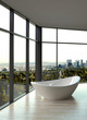 Modern white bathtub against windows