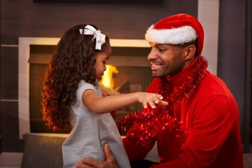 Father and daughter at christmas time