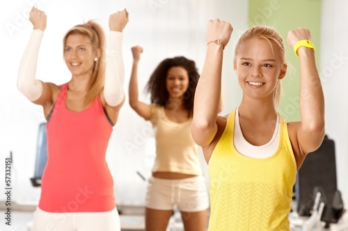 Young women doing exercises