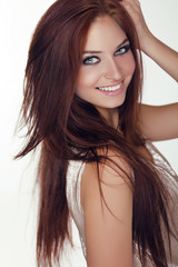 Beautiful happy smiling teen girl with Healthy and Beauty Brown