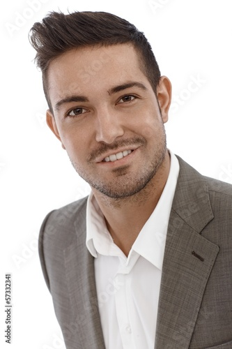 Closeup portrait of happy businessman