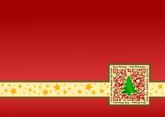 International Christmas-Card with QR Code - Red