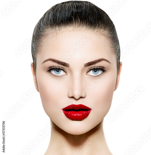 Beauty Woman Portrait. Makeup for Brunette with Blue eyes