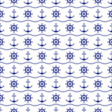 Seamless nautical background with anchors, ship wheels and waves