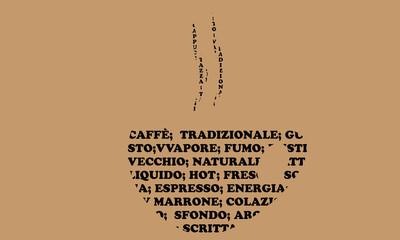 Tazzina di caffè formata da parole chiave riguardante il  caffè