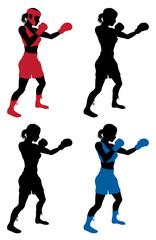 Female boxer boxing