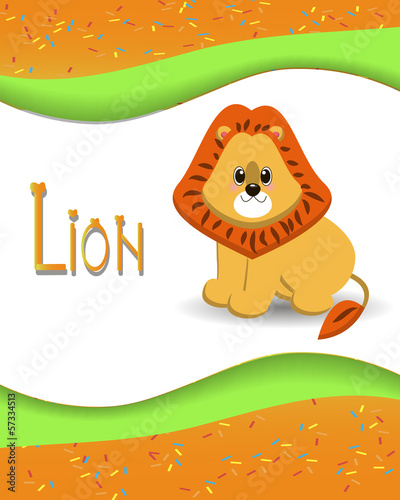 Animal alphabet lion with a colored background