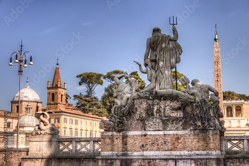 Piazza del Popolo in Rome and the Neptune statue