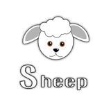 Vector illustration of cute little sheep