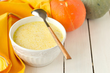 Milky Pumpkin Soup, copy space for your text