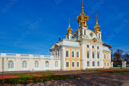 The ancient architecture of the city park of Peterhof.